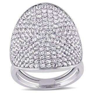 Miadora Sterling Silver White Sapphire Geometric Cluster Ring