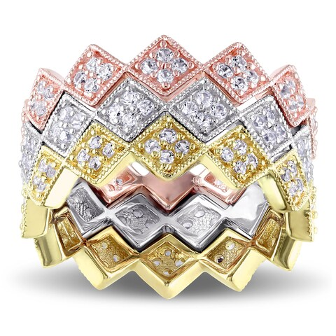 V1969 ITALIA White Sapphire Zig Zag Stackable Rings in 18k Tri-color White Yellow and Rose Gold Plated Sterling Silver