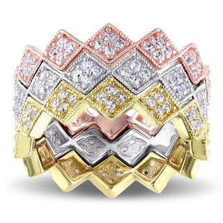 V1969 ITALIA White Sapphire Zig Zag Stackable Rings in 18k Tri-color White Yellow and Rose Gold Plated Sterling Silver (3 options available)