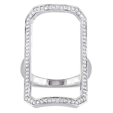 Miadora White Sapphire Geometric Ring in Sterling Silver