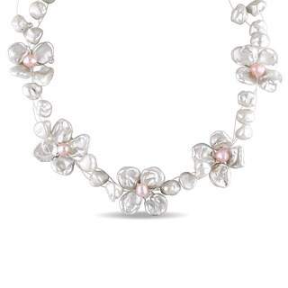 Miadora Sterling Silver Cultured Freshwater Keshi White and Pink Pearl Flower Necklace (6.5-11 mm)