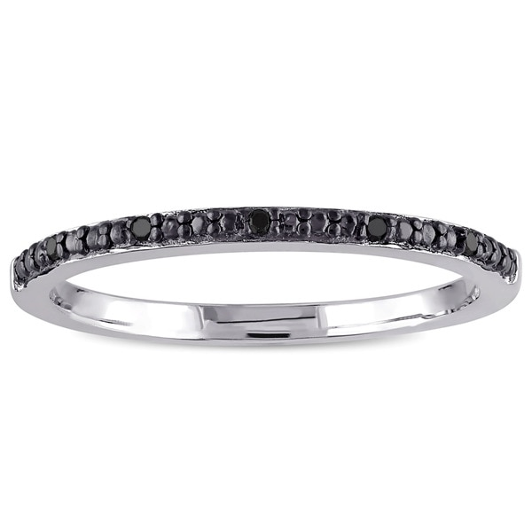 Miadora Sterling Silver Black Diamond Accent Wedding Band