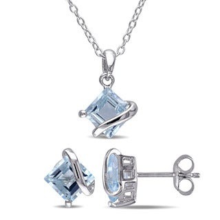 Miadora Sterling Silver Blue Topaz Solitaire Necklace and Earrings Set