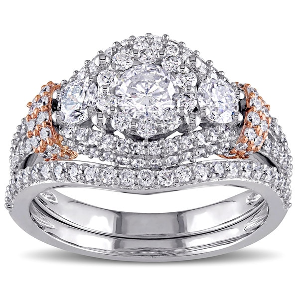 Miadora Signature Collection 10k Two-tone Gold 1 1/2ct TDW Diamond Halo Bridal Ring Set