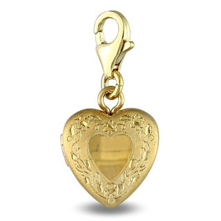 Miadora Yellow Plated Sterling Silver Heart Locket Charm