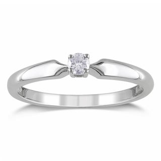 Miadora 10k White Gold 1/10ct TDW Diamond Solitaire Promise Ring