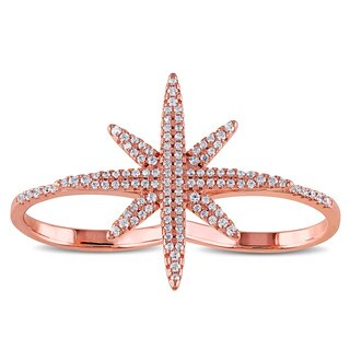 Miadora Rose Plated Sterling Siilver Cubic Zirconia Star Ring
