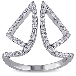 Miadora Sterling Silver Cubic Zirconia Open Space Geometric Ring