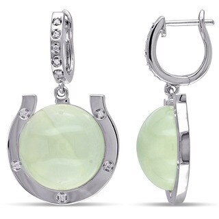 Miadora Sterling Silver Prehnite and 1/10ct TDW Diamond Dangle Earrings (G-H, I2-I3)