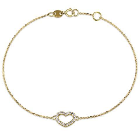 Miadora 14k Yellow Gold 1/10ct TDW Diamond Heart Charm Bracelet - White