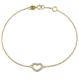Miadora 14k Yellow Gold 1/10ct TDW Diamond Heart Charm Bracelet (G-H, SI1-SI2)