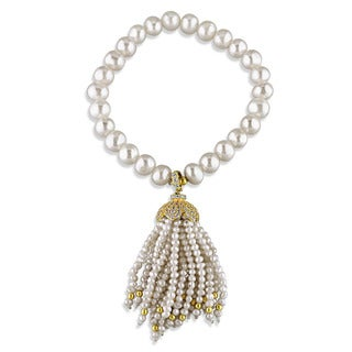 Miadora Yellow Plated Sterling Silver Cultured Freshwater pearl and Cubic Zirconia Charm Stretch Bracelet