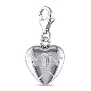 Miadora Sterling Silver Heart Locket Charm