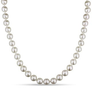 Miadora 14k Yellow Gold Cultured Akoya White Pearl Necklace (7.5 -8 mm)