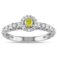 Miadora Sterling Silver 1/4ct TDW Yellow and White Diamond Halo Ring