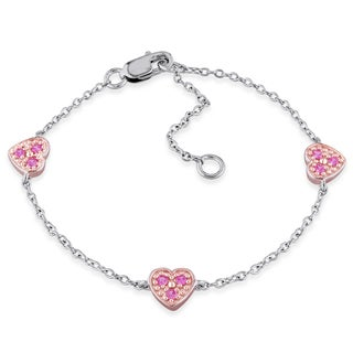 Miadora Sterling Silver Created Pink Sapphire Heart Charm Bracelet