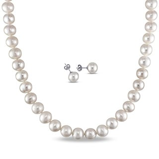 Miadora Stainless Steel and Silver-tone Cultured Freshwater White Pearl Necklace and Earrings set (9-11 mm)