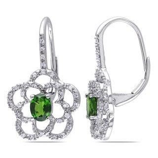Miadora 10k White Gold Chromo Diopside and 1/5ct TDW Diamond Flower Dangle Earrings (G-H, I1-I2)