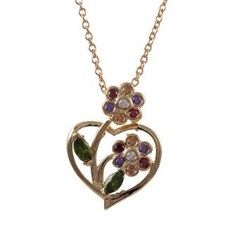 Luxiro Rose Gold Finish Multi-color Cubic Zirconia Flower Heart Pendant Necklace