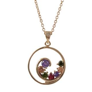Luxiro Rose Gold Finish Multi-color Cubic Zirconia Spiral Pendant Necklace