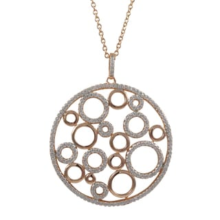 Luxiro Two-tone Sterling Silver Cubic Zirconia Bubbles Circle Pendant Necklace
