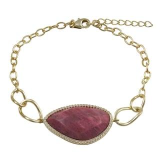 Luxiro Gold Finish Sterling Silver Cubic Zirconia Semi-precious Gemstone Bracelet