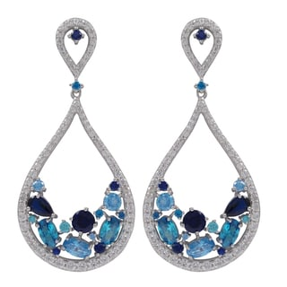 Luxiro Sterling Silver Lab-created Gemstone and Cubic Zirconia Teardrop Earrings