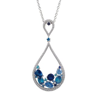 Luxiro Sterling Silver Cubic Zirconia Lab-Created Gemstone Teardrop Pendant Necklace