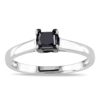 Miadora Sterling Silver 1/2ct TDW Princess-cut Black Diamond Solitaire Engagement Ring