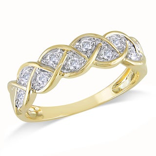 Miadora 10k Yellow Gold 1/4ct TDW Diamond Infinity Ring