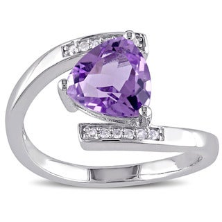 Miadora Sterling Silver Amethyst and Diamond Accent Bypass Ring