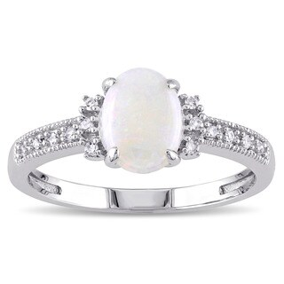 Miadora 10k White Gold Opal and Diamond Accent Cocktail Ring (G-H, I1-I2)