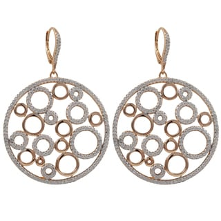Luxiro Two-tone Sterling Silver Cubic Zirconia Bubbles Circle Dangle Earrings