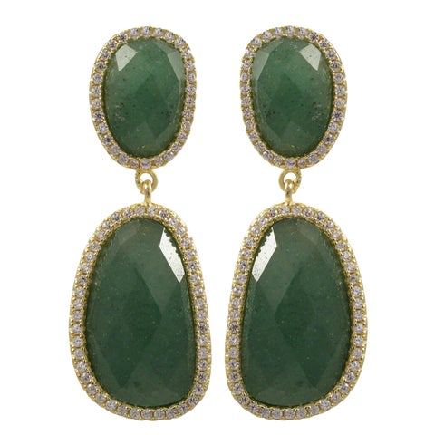 Sterling Silver Gold Finish Semi-precious Gemstone Dangle Earrings