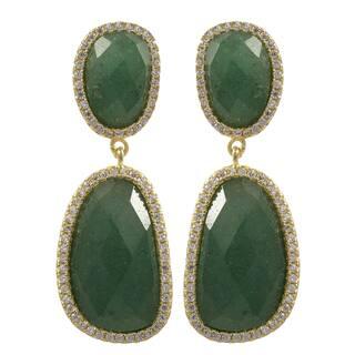 Sterling Silver Gold Finish Semi-precious Gemstone Dangle Earrings|https://ak1.ostkcdn.com/images/products/10790165/P17837731.jpg?impolicy=medium
