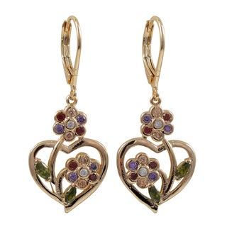 Luxiro Rose Gold Finish Multi-color Cubic Zirconia Flower Heart Dangle Earrings