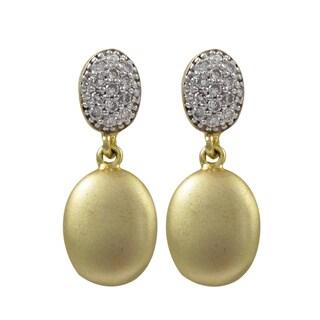 Luxiro Two-tone Matte Gold Finish Cubic Zirconia Oval Dangle Earrings