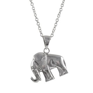 Luxiro Sterling Silver Elephant Pendant Necklace