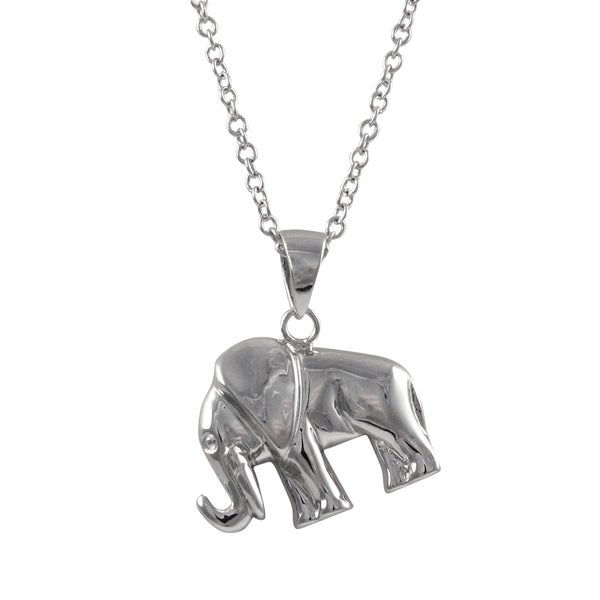 Shop Luxiro Sterling Silver Elephant Pendant Necklace
