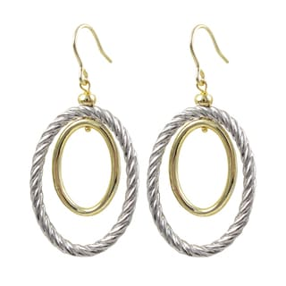 Luxiro Two-tone Gold Finish Braided Oval Dangle Earrings