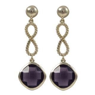 Luxiro Gold Finish Cushion Cubic Zirconia Infinity Dangle Earrings
