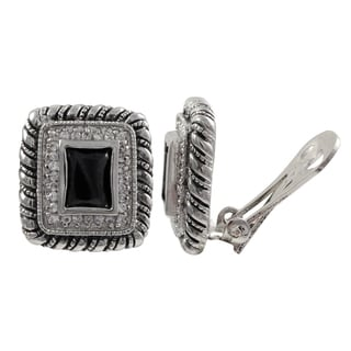 Luxiro Rhodium Finish Black and White Cubic Zirconia Square Clip-on Earrings