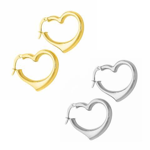 14k Yellow or White Gold Heart Hinged-hoop Earrings (20 mm)