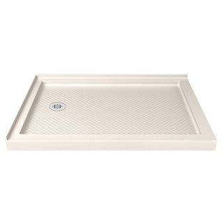 DreamLine SlimLine 34 in. by 48 in. Double Threshold Shower Base in Biscuit Color