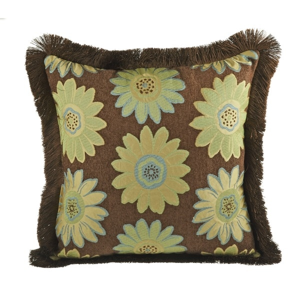 Daisy May Brush Fringe Decorative 20-inch Throw Pillow