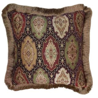 Ruche Brush Fringe Decorative 20-inch Throw Pillow