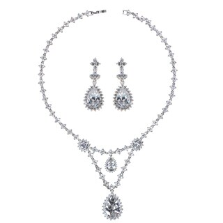 Fancy CZ Pear Drop Necklace and Earring Set