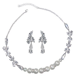 Fancy Faux Pearl and CZ Necklace and Earring Set