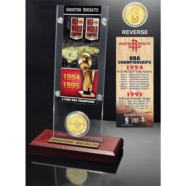 Houston Rockets 2-time NBA Champions Bronze Coin Ticket Acrylic