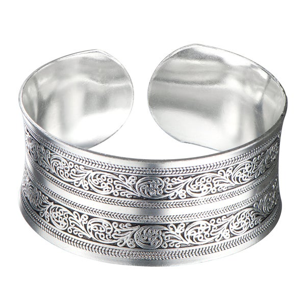 Silver Filigree Tribal Vintage Bangle Cuff Bracelet